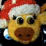 Салат в виде бычка на праздничный Новогодний стол